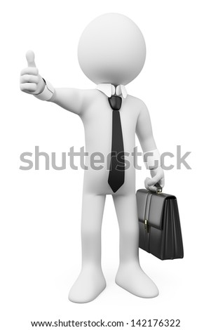 3d white business person with thumb up. Ok. Isolated white background. - stock photo