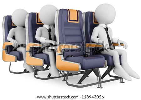 3d white business persons in a plane with the seat belt fastened, one working with a laptop. 3d image. Isolated white background. - stock photo