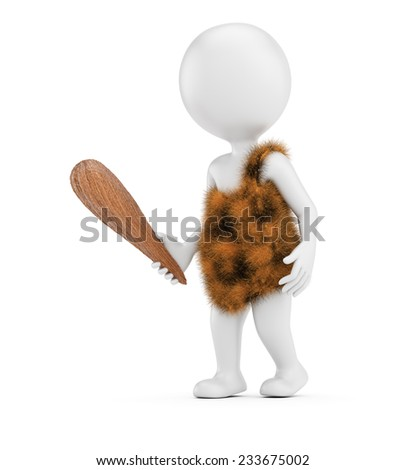 3D white caveman isolated on white background.  - stock photo