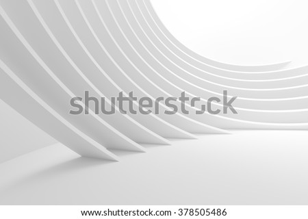 3d White Column Interior. Abstract Architecture Background - stock photo