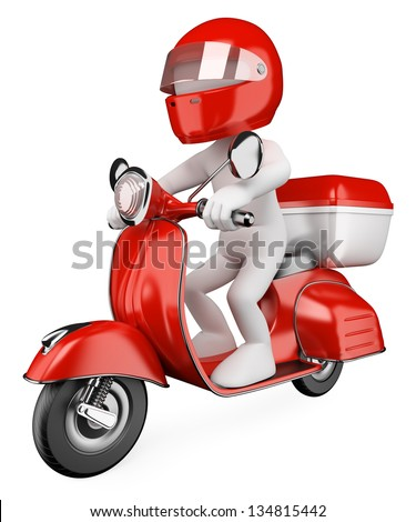 3d white courier delivering a package on a scooter. 3d image. Isolated white background. - stock photo