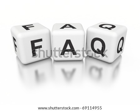 3d white cubes with FAQ - stock photo