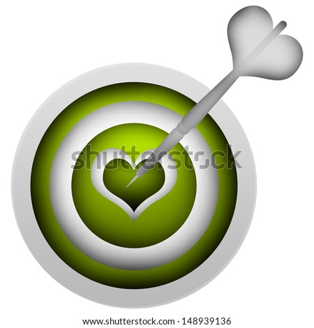 3d White Dart Hitting a Green Heart Target Isolated on White Background