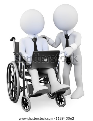 3d white disabled business person with a laptop on his legs, working with a workmate  . 3d image. Isolated white background. - stock photo