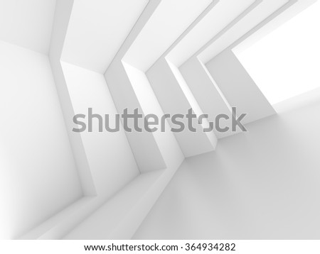 3d White Empty Hall. Modern Architecture Background - stock photo