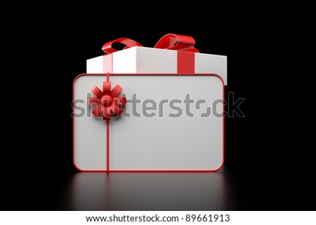 3d white gift box with blank card on black background - stock photo