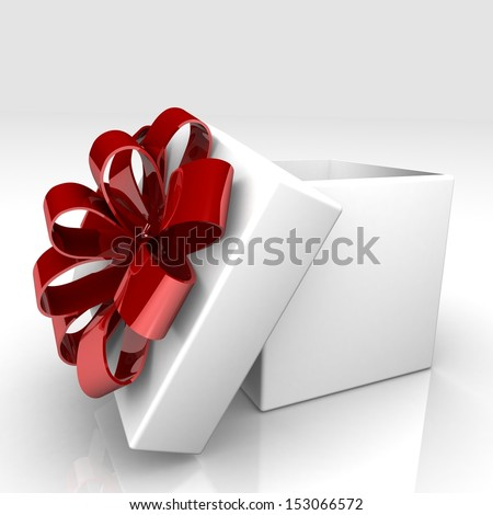 3D white gift box with the lid open and bright with colorful bow - a design element for different designs of the holiday: Christmas, Valentine's Day, New Year Holidays birthdays.
