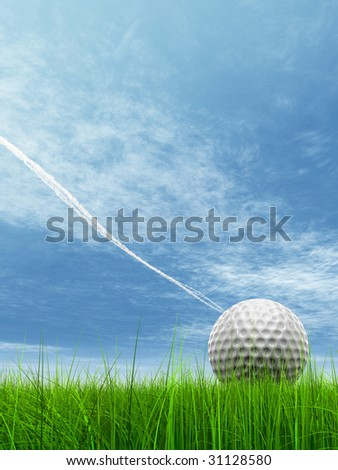 3d white golf ball in green grass on a blue sky with clouds and plane traces or trails background, for sport, recreation, or golf play designs - stock photo