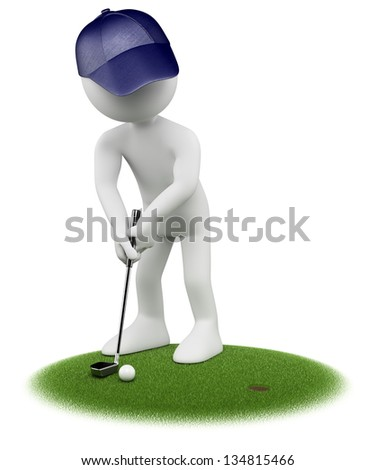 3d white golfer putting in golf green. 3d image. Isolated white background. - stock photo