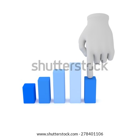 3d white human hand over graph. White background. - stock photo