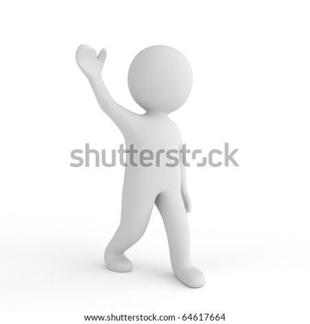 3d white human salute - stock photo
