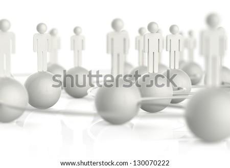 3d white human social network as concept - stock photo
