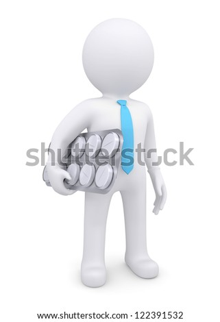 3d white human with pills. Isolated render on a white background - stock photo