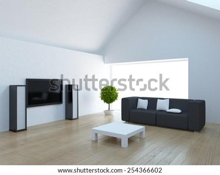 3D white interior of a residential roof