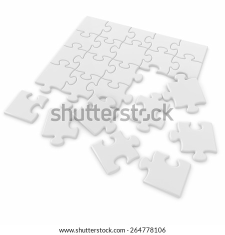 3d white isolated puzzle pieces - stock photo