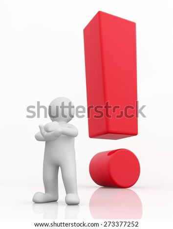 3d white man and red exclamation mark standing out isolated on white with clipping path.