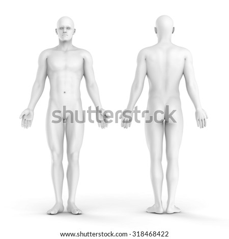 3d white man - front and back view  - stock photo