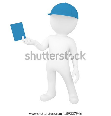 3d white man holding a card. Isolated render on a white background - stock photo