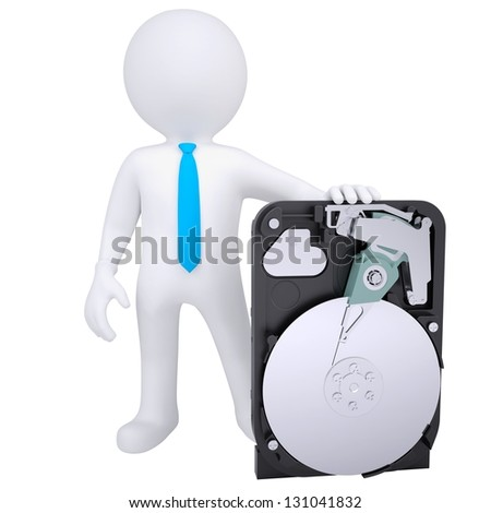 3d white man holding a hard drive. Isolated render on a white background