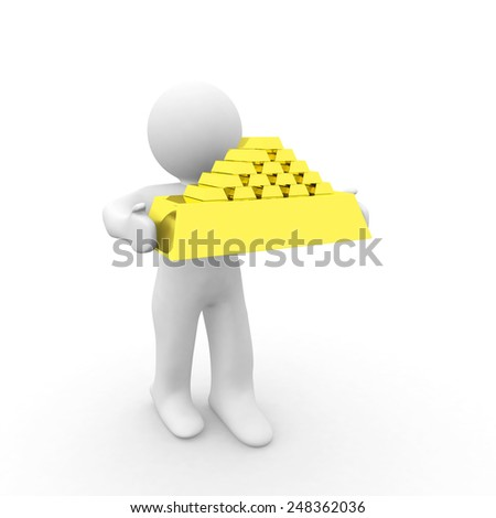 3d white man holding gold bar - stock photo