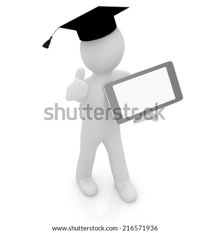3d white man in a grad hat with thumb up and tablet pc - best gift a student on a white background - stock photo