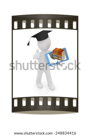 3d white man in a grad hat with thumb up,books and tablet pc - best gift a student on a white background. The film strip - stock photo