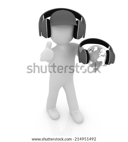 3d white man in a peaked cap with thumb up, tablet pc and headphones. Global concept with blue earth