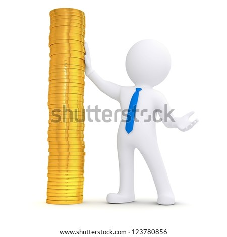 3d white man next to a pile of gold coins. Isolated render on a white background - stock photo