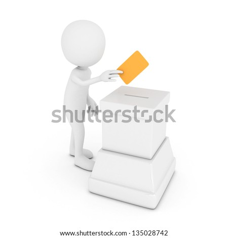 3D White Man Putting a Voting Ballot into the box isolated on white background. - stock photo