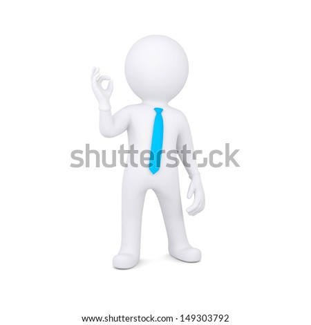 3d white man shows OK. Isolated render on a white background
