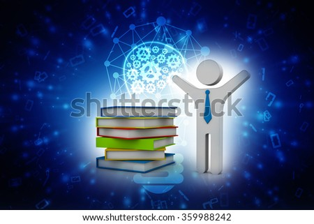 3d white man stand near stack of books with thumbs up. Studying illustration. Back to school. Education concept - stock photo