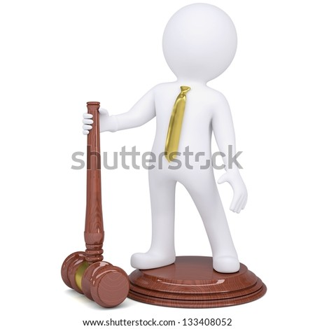 3d white man with judicial hammer. Isolated render on a white background - stock photo