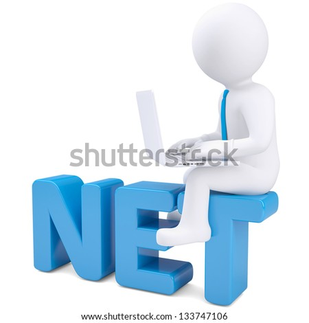 3d white man with laptop sitting on the word NET. Isolated render on a white background