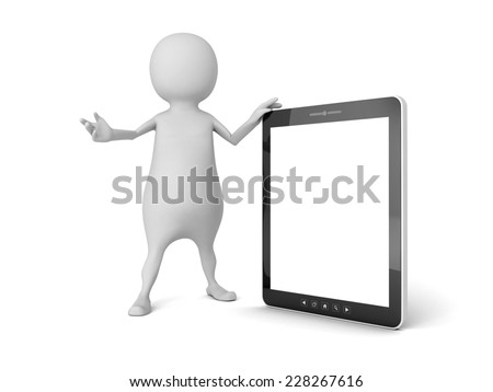 3d white man with portable tablet PC. 3d render illustration - stock photo