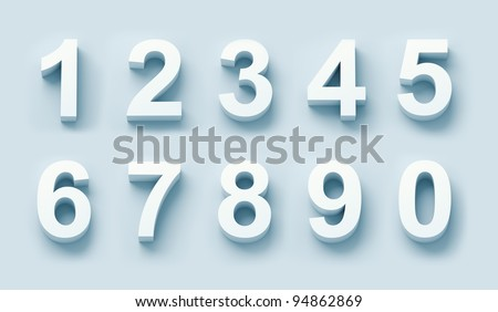 3d white numbers set in blue light