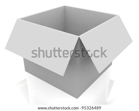 3d white open box