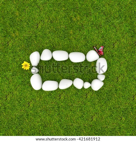 3d White pebble stone math symbols minus negative on the green grass background
