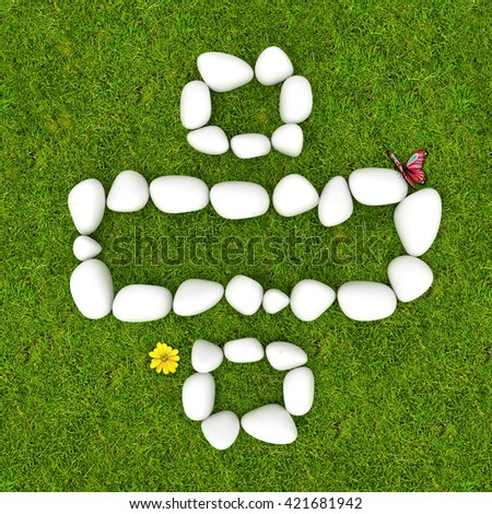 3d White pebble stone math symbols  on the green grass background