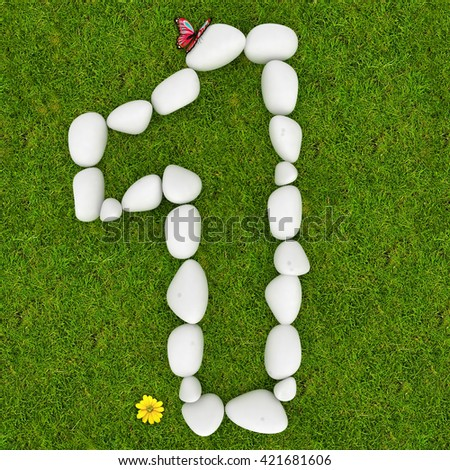3d White pebble stone number one 1 on the green grass background
