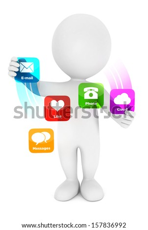 3d white people applications interface, isolated white background, 3d image - stock photo