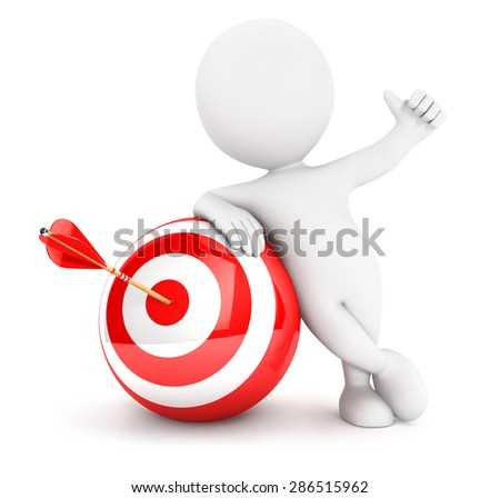 3d white people arrow in sphere target, isolated white background, 3d image
