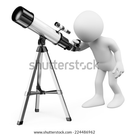 3d white people. Astronomer looking through a telescope. Isolated white background. - stock photo