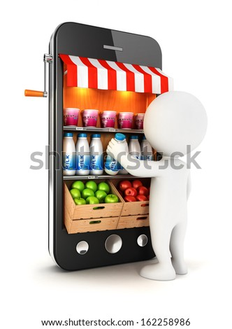 3d white people at supermarket, isolated white background, 3d image - stock photo