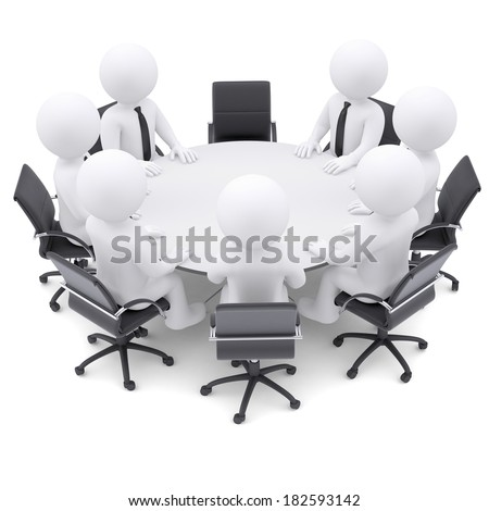 3d white people at the round table. One chair is empty. The concept is not complete conference