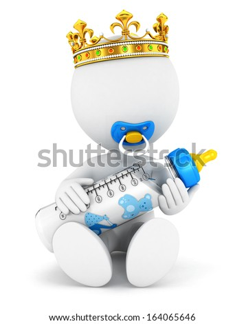 3d white people baby king, isolated white background, 3d image - stock photo