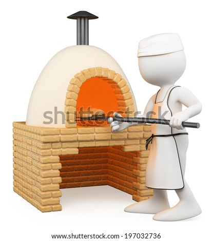3d white people. Baker making bread in the oven. Isolated white background.  - stock photo