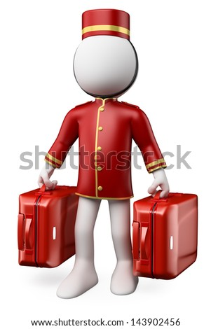 3D white people. Bellhop with two trolley suitcases. Isolated white background. - stock photo