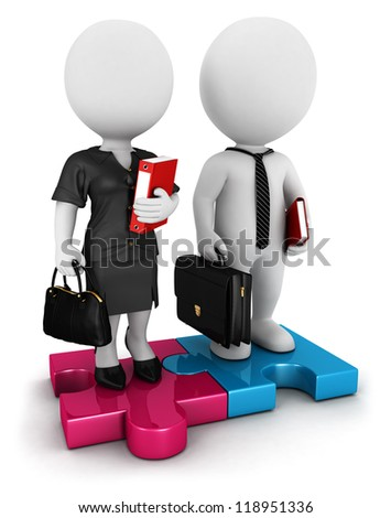 3d white people businessman and businesswoman standing on piece of puzzle, isolated white background, 3d image