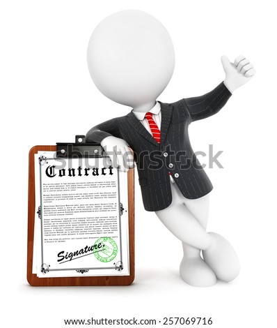 3d white people businessman contract, isolated white background, 3d image - stock photo