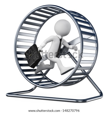 3d white people. Businessman in a hamster wheel. Isolated white background. - stock photo